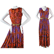 1970's Vintage Boldly Printed Front Lacing Palazzo Pant Jumpsuit