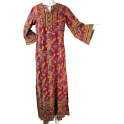 1970's Vintage Bohemian Printed Cotton Dress With Mirrors And Saks / Pakistan Labels