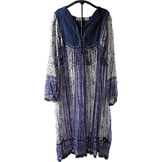 Gauzy 1970's Her Excellency Stenciled India Print Cotton Dress