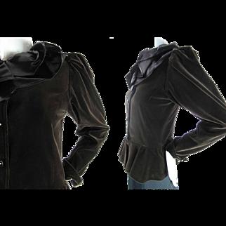 1970's Vintage Yves St Laurent Rive Gauche Velvet Peplum Jacket