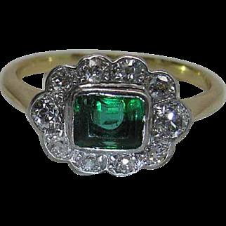 Antique Edwardian 14K Gold And Platinum Emerald And Mine Cut Diamond Halo Ring
