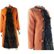Stylish 1960's Custom Made Pumpkin Orange Boucle And Mink Coat
