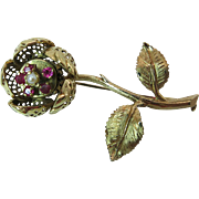 Vintage 14K Gold Ruby Rose Trembler Brooch / Pin With Hinged Petals
