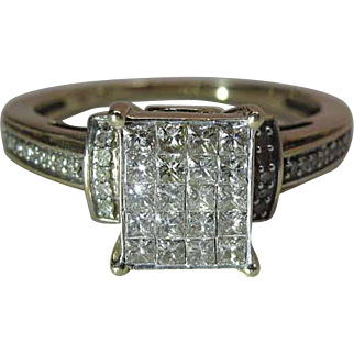 Glittering 10K Yellow Gold Cocktail Ring With .5 Carats Of Round And Princess Diamonds