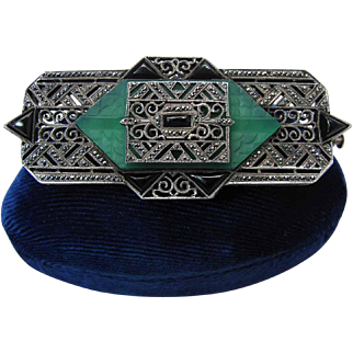 Outstanding Art Deco Carved Chrysoprase Black Onyx And Marcasite Pin / Brooch