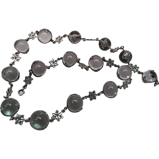 Antique 22-Inch Pools Of Light Necklace With 14-mm Orbs Rare Poppy Flower Wraps And Floral Spacers