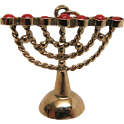 Vintage 14K Yellow Gold And Red Coral Menorah Pendant / Charm From Israel