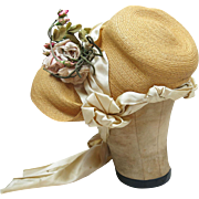 Fine Antique 1860's Victorian Decorated Straw Bonnet With Paris Label ON LAYAWAY
