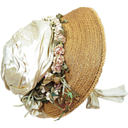 Lovely Antique 1860's Victorian Decorated Straw Bonnet With Paris Label ON LAYAWAY