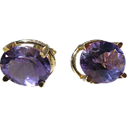 Vintage 14K Yellow Gold 3.14 Carat Oval Amethyst Post Earrings