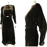 Luscious 1930's Vintage Bias Cut Silk Velvet Dress With Art Deco Buckle And Dolman Sleeves