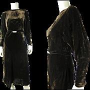 Luscious 1930's Vintage Bias Cut Silk Velvet Dress With Art Deco Buckle And Dolman Sleeves
