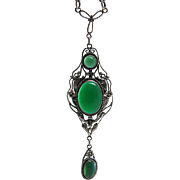 Vintage Circa 1920 Sterling Silver And Chrysoprase Double-Drop Pendant Necklace