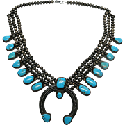 Fine 1940's Vintage Three Strand Navajo Squash Blossom Necklace With Turquoise