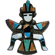 Fine Circa 1940 Zuni Knifewing Brooch With Stone To Stone Mosaic Inlay
