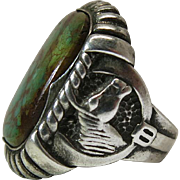 Vintage Southwestern Sterling Silver And Turquoise Ring With Horse Head Shoulders