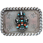 Vintage Native American Silver And Gold Belt Buckle With Detachable Zuni G.B. Natachu Inlaid Knifewing Pendant - Brooch