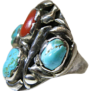 Hand Hammered Vintage Ingot Silver Navajo Ring With Turquoise And Coral