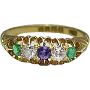 Antique Victorian 18K Gold Five Gemstone Ring