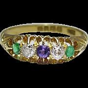 Antique Victorian 18K Gold Five Gemstone Ring
