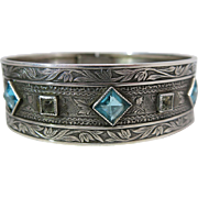Lovely Antique Victorian Sterling Silver Bangle Bracelet With Blue And White Paste Stones