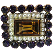 Antique Dated 1841 14K Yellow Gold Pendant Brooch With Natural Citrine, Seed Pearls And Amethyst Pastes
