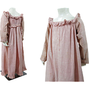 Antique Circa 1820 Georgian - Regency Pink And White Striped Child's Dress