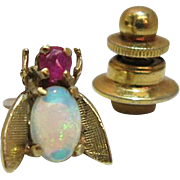 Antique 14K Yellow Gold Opal And Ruby Fly Lapel Pin / Tie Tack