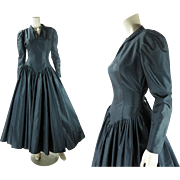 1980's Vintage Norma Kamali Black Taffeta Cocktail Dress