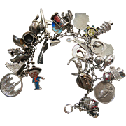 Vintage Loaded Charm Bracelet With 26 Charms - Mechanicals, Enamel, Travel Etc.