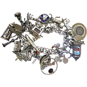 Vintage Sterling Silver Charm Bracelet Loaded With 24 Charms - Mechanical, Enamel, Etc.