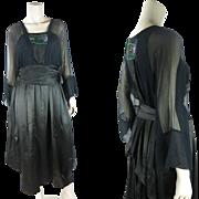 Graceful Edwardian Beaded Silk Charmeuse Dress