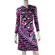 1960's Vintage Emilio Pucci Printed Silk Jersey Dress With Neiman Marcus Trophy Room Label