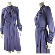 1980's Vintage Guy Laroche Diffusion Plum Purple Jersey Day Dress