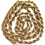 14K Yellow Gold Twisted Rope Chain Necklace With Graduated Silhouette - 24 1/2-Inches / 15.7 Grams