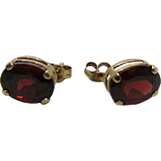 14K Yellow Gold 1.75 Carat Oval Pyrope Garnet Post Earrings