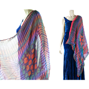 Vivid Art Deco Era Reversible Printed Silk Chiffon Shawl