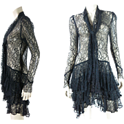 Flouncy 1920's Black All Lace Dress