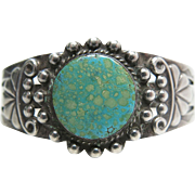 Fine 1940's Vintage Navajo Sterling Silver Cuff Bracelet With Beautiful Water Web Turquoise Cabochon