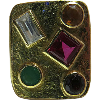 Vintage 1960's 18K Yellow Gold Mixed Gemstone Modernist Cocktail Ring