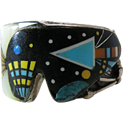 Fine Vintage Zuni Micro Inlay Sterling Silver Ring Size 13 Signed B B