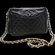 """Vintage 1980's Chanel Quilted Black Leather """"Camera Bag"""" Handbag With Gold Hardware & Dust Bag"""