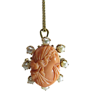 Antique Victorian 15K Gold Coral Cameo Pendant - Brooch With Pearls