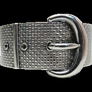 Antique Victorian 1-Inch Wide Sterling Silver Hinged Buckle / Garter Bracelet