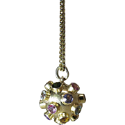 Vintage 18K Gold Mixed Gemstone Sputnik Pendant
