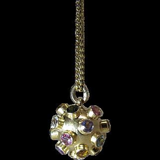 Vintage 18K Gold Mixed Gemstone Sputnik Pendant