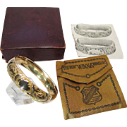 Amazing Antique Victorian Gold Filled Bangle With Original Box, Advertising Storage Bag & Booklet