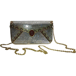 Vintage Judith Leiber Full Crystal Envelope Clutch Minaudiere Handbag With Cameo