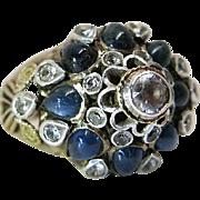 Vintage 14K Yellow Gold Natural Sapphire & White Topaz Princess / Mughal Ring