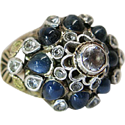 Vintage 14K Yellow Gold Natural Sapphire & White Topaz Princess / Mughal Ring